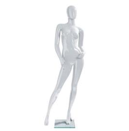Maniquí mujer posición ladeada blanco lacado
