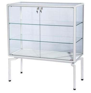 Vitrina dos estantes marco aluminio blanco