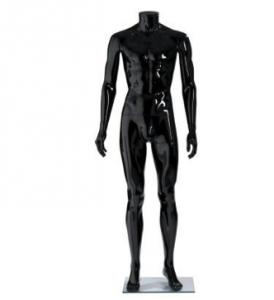 Maniquí hombre sin cabeza negro brillo